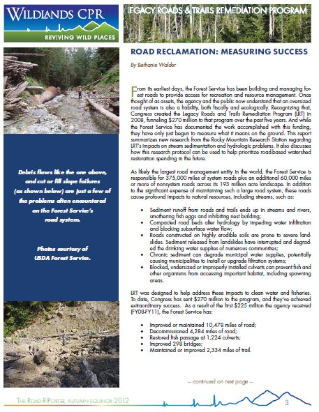 Reclaiming Roads Measuring Success cover