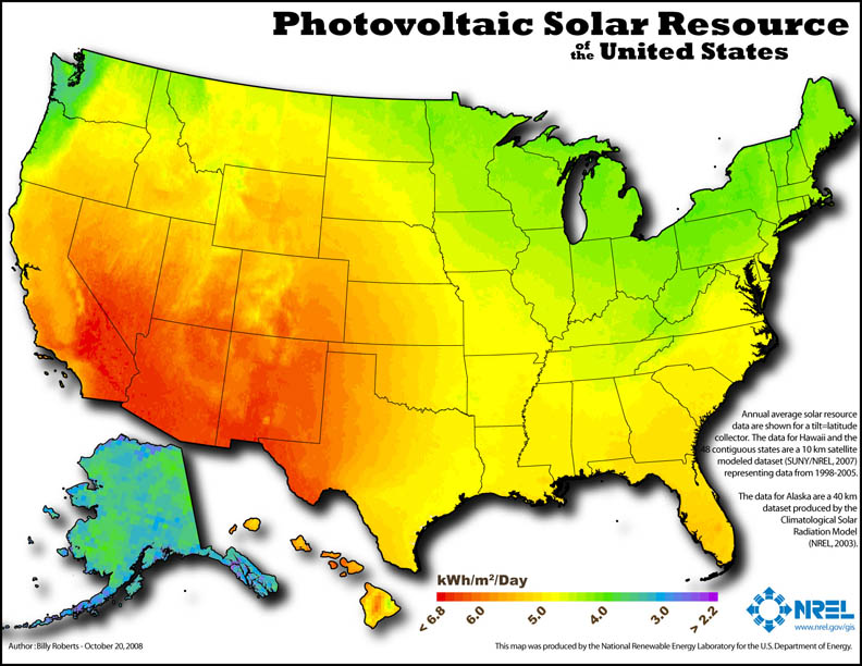 Solar Photovolatic National Map pc NREL