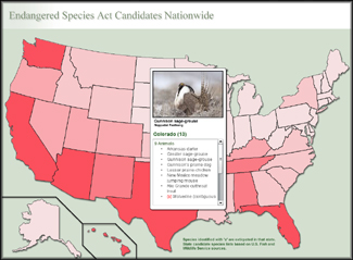 Endangered Species Act Listing Milestone Map Thumbprint
